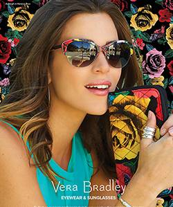 vera bradley ad with brunette wearing designer sunglasses 250x300